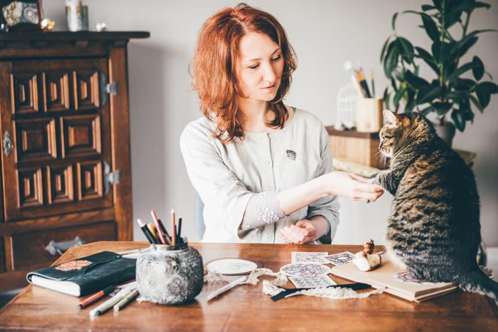 Woman teaching cat a trick