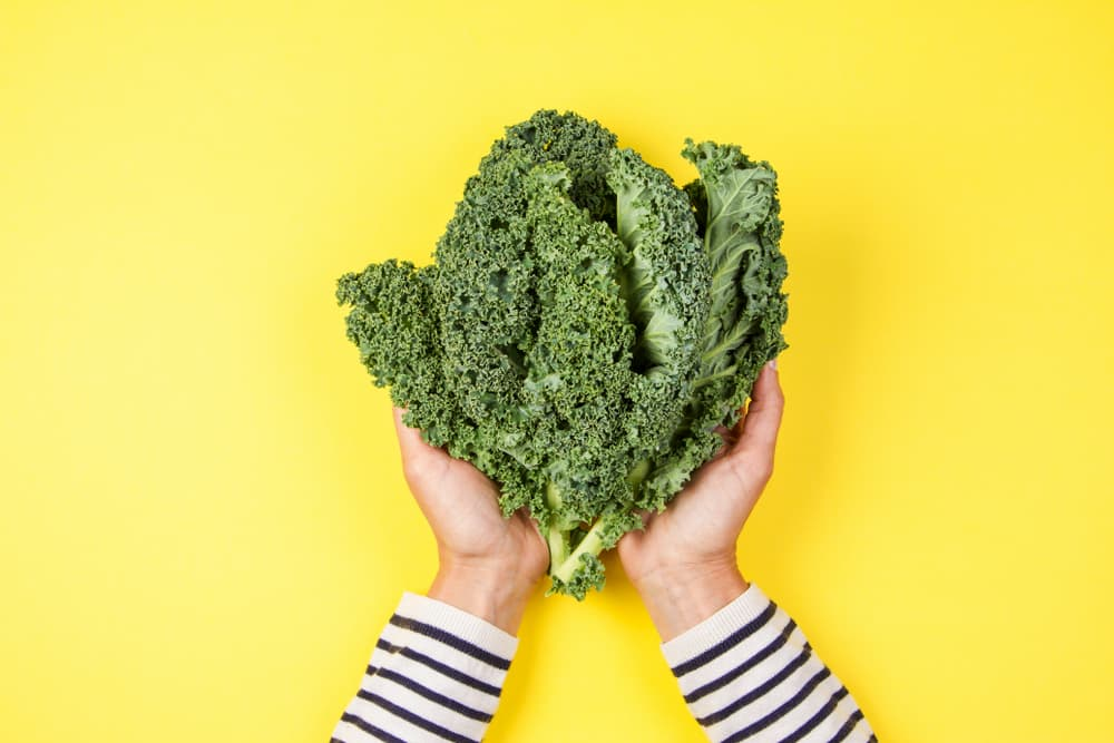 Woman holding a bunch of kale on a bright background