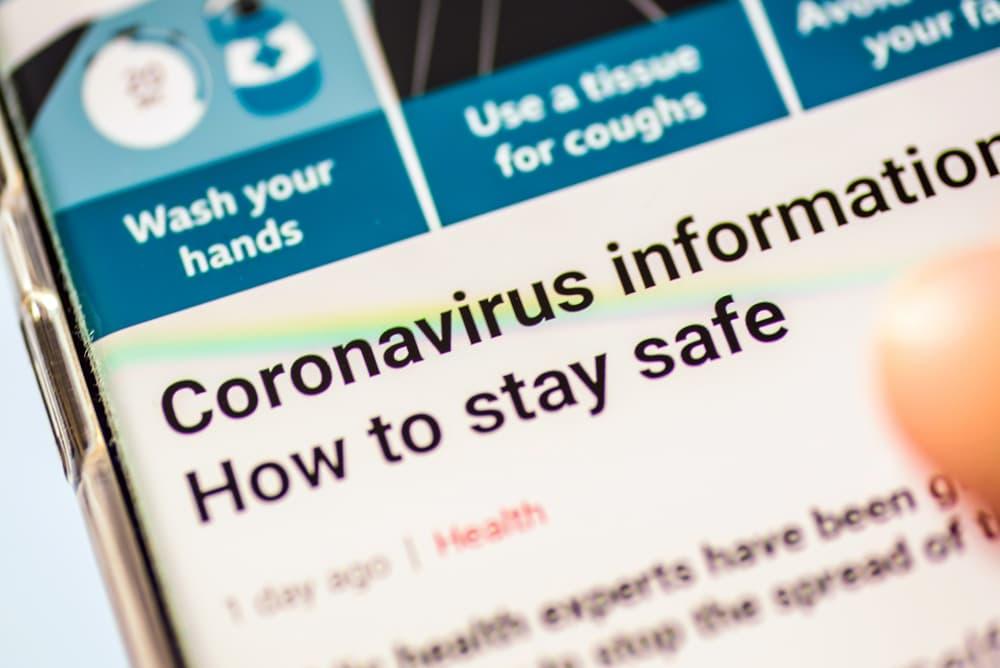 coronavirus webpage on smartphone