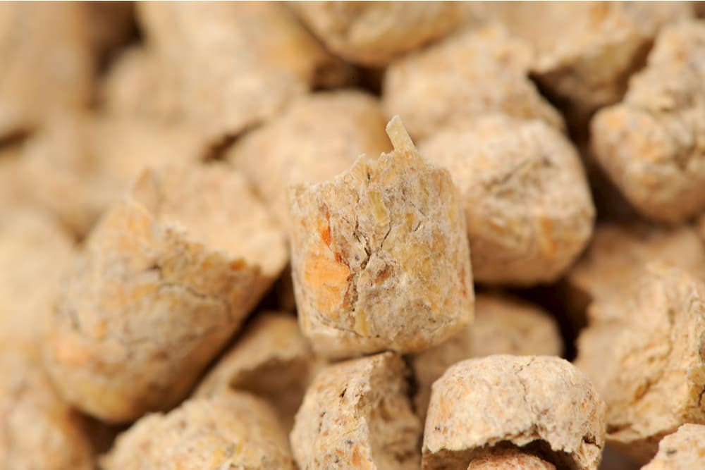 Close up of wood palette pellets used in cat litter