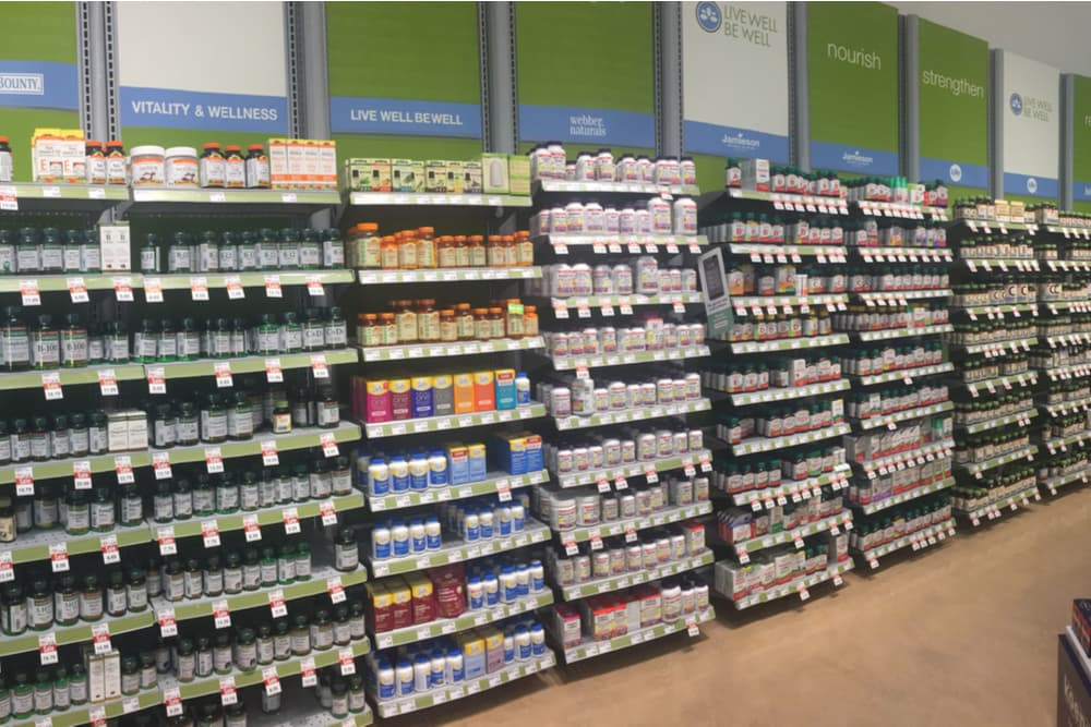 Supplement section of a health food store