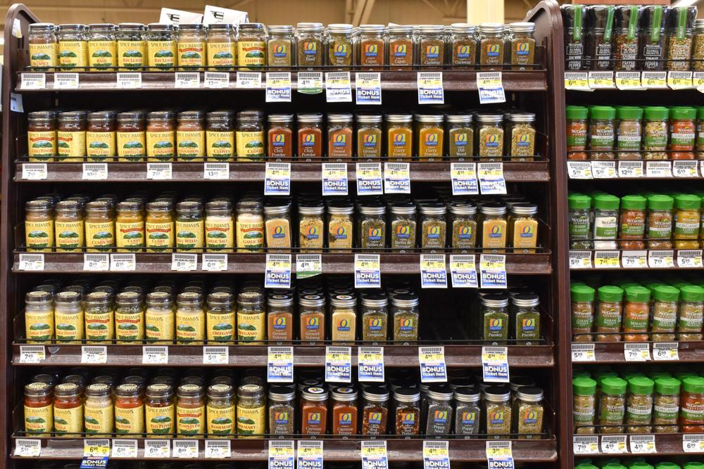 Supermarket spice aisle