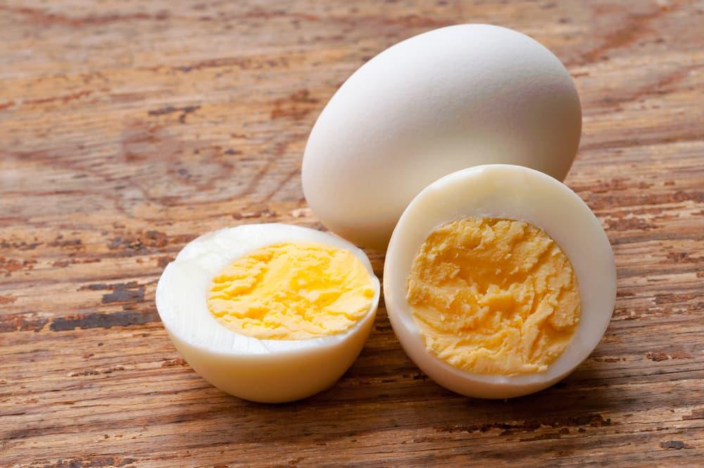 hardboiled eggs on table