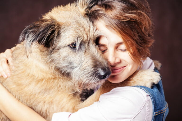 Woman hugging a rescue dog