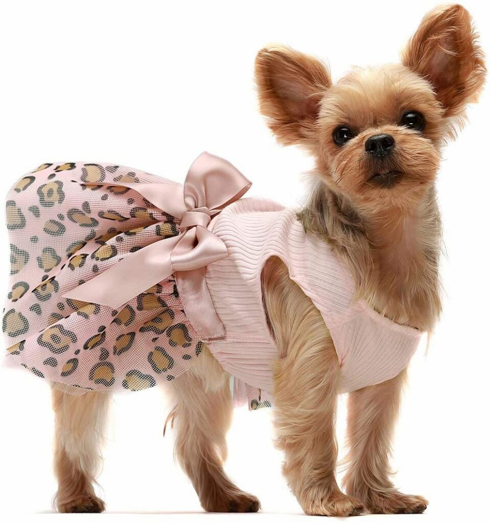 Pink leopard print dog dress