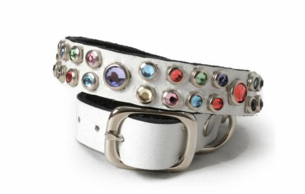 Colorful crystal dog collar