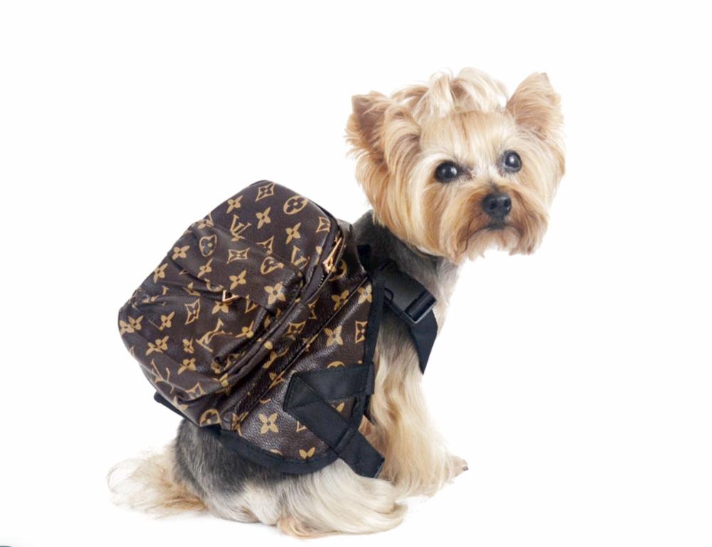 Designer emblem dog backpack