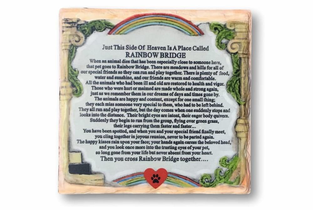 Rainbow bridge memorial plaque