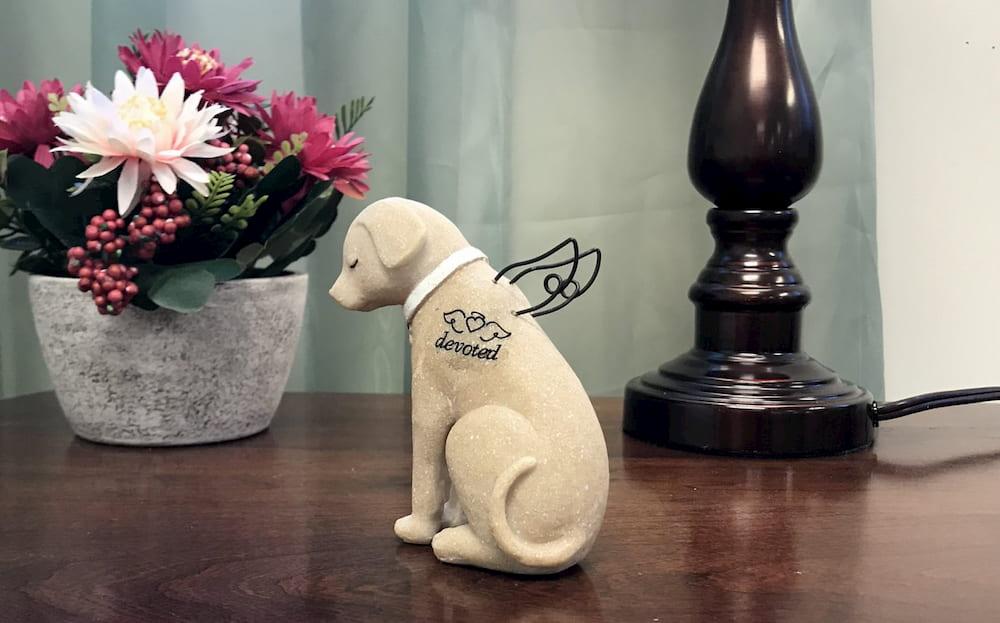 Dog memorial angel statue