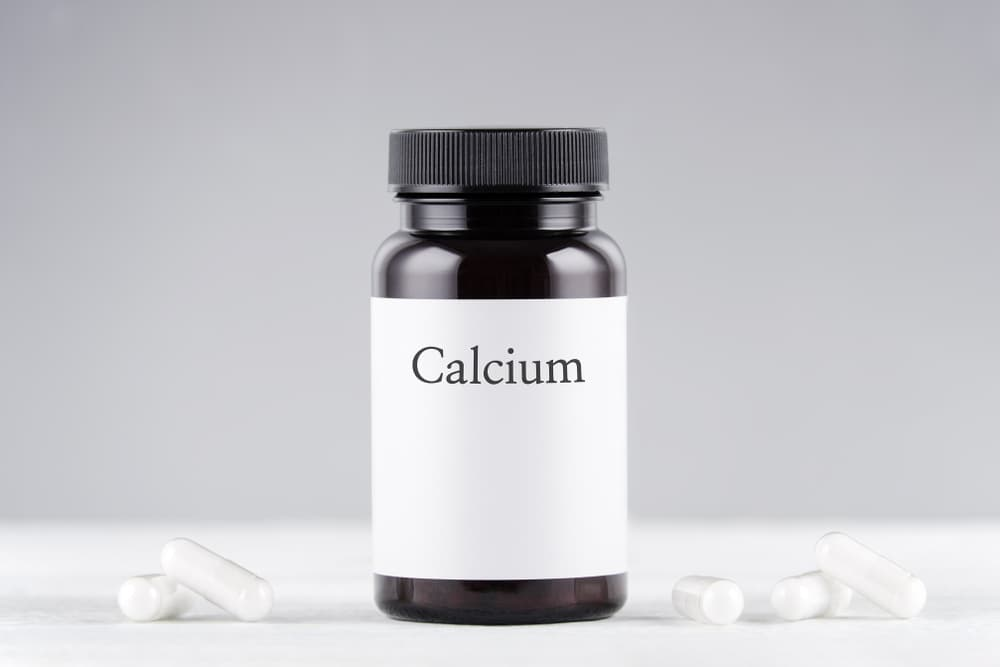 Bottle of calcium tablets