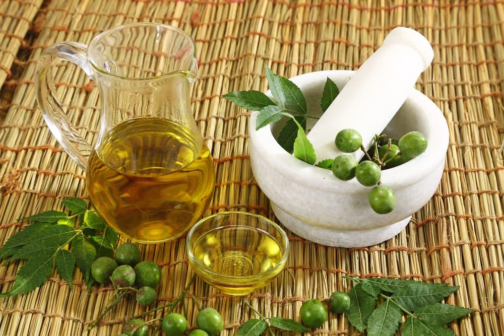 Neem oil on table