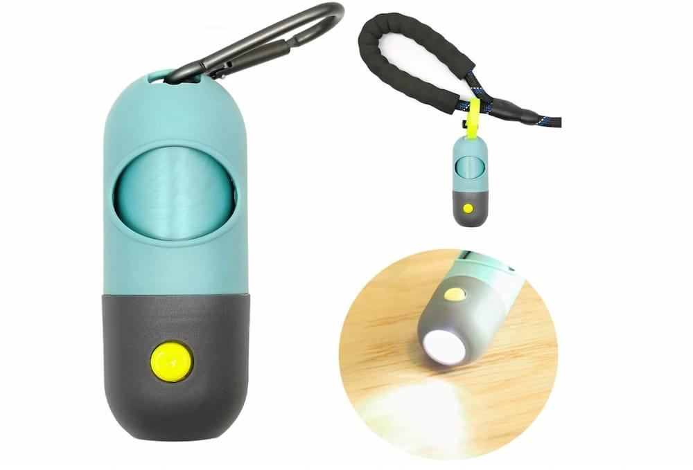 Dog waste bag dispenser with flashlight
