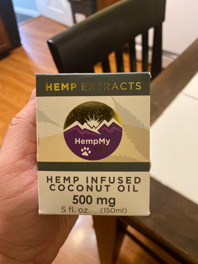 Box of HempMy Pet Coconut Oil for hemp for dogs