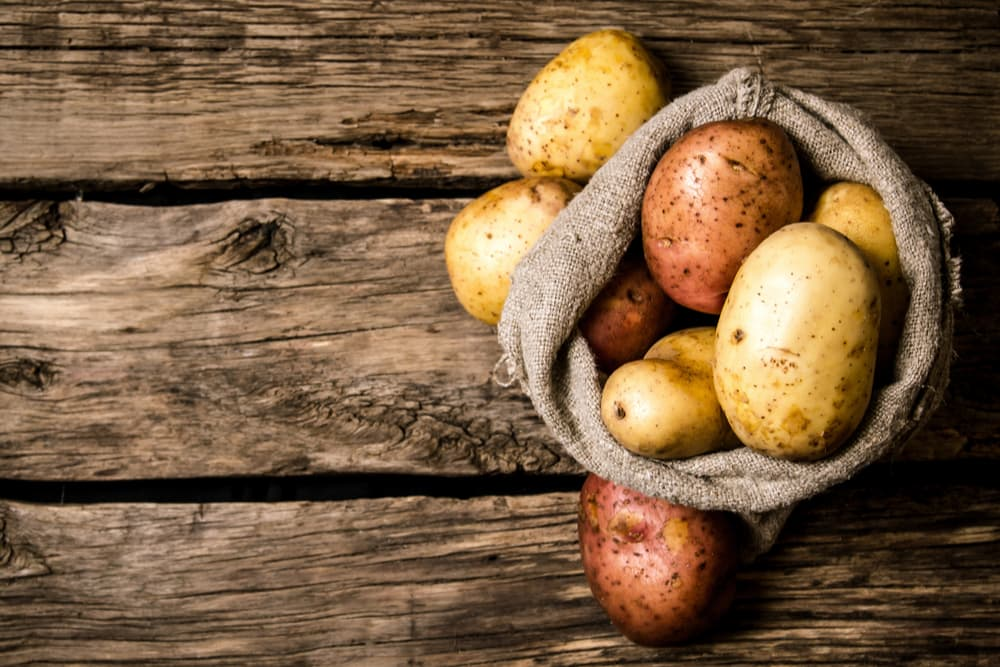 Sack of potatoes on a table