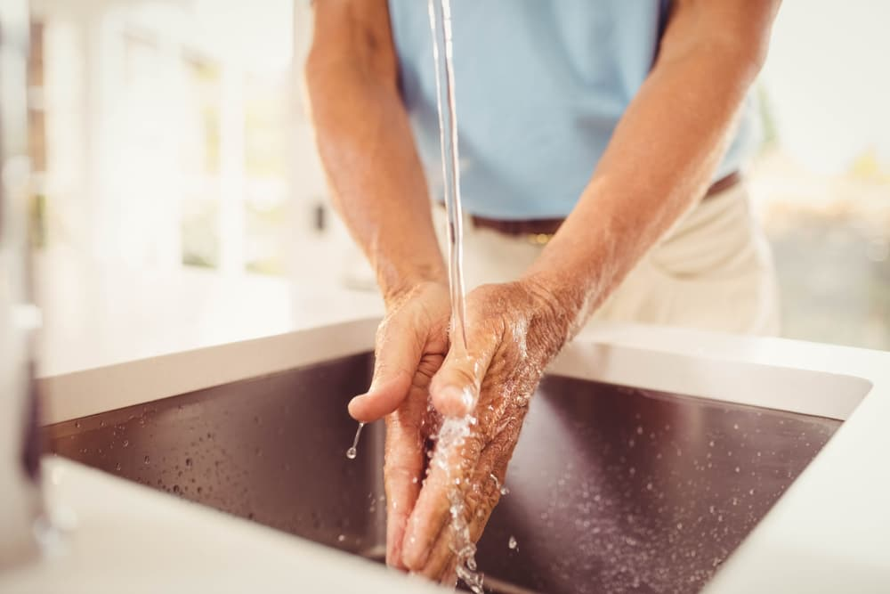 Washing hands to ensure cat food safety