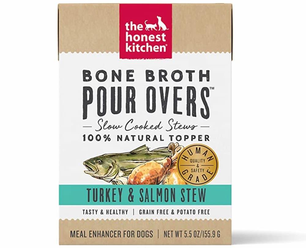 Dog food topper of bone broth