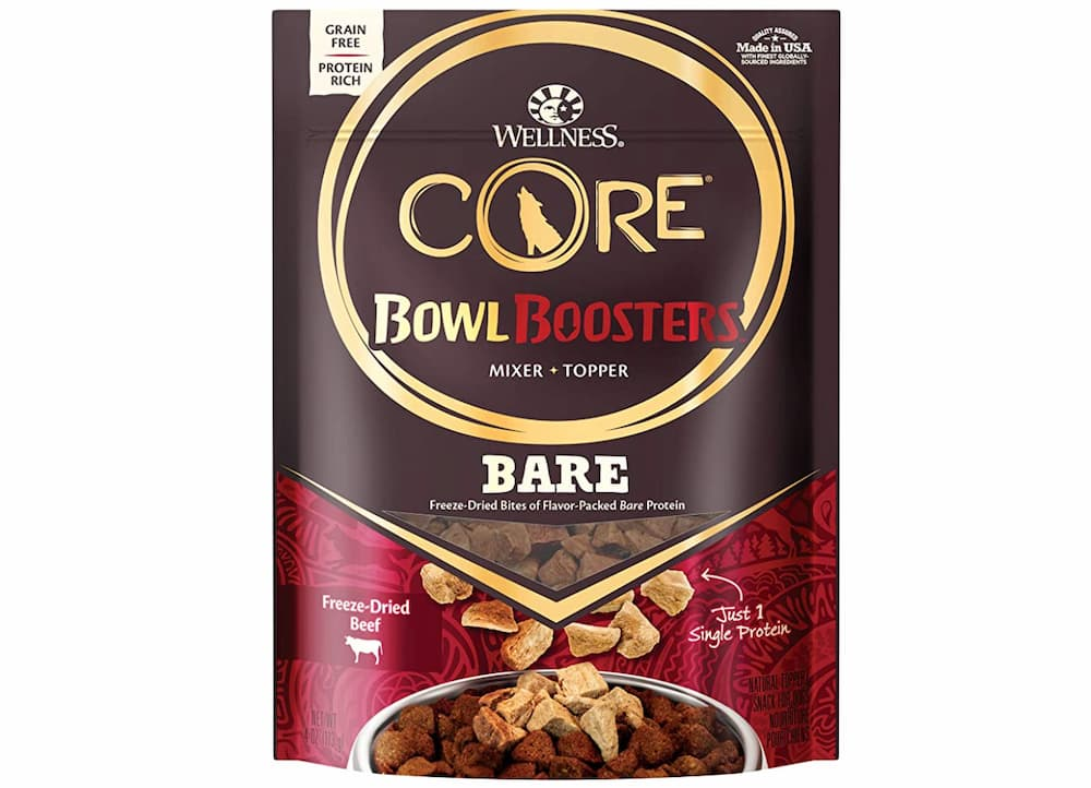 Bag of wellness core bowl boosters dog food toppers