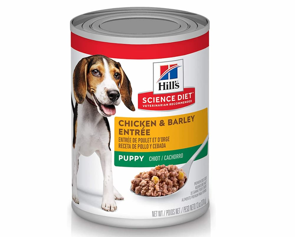 Hill's science tin of wet dog food formula