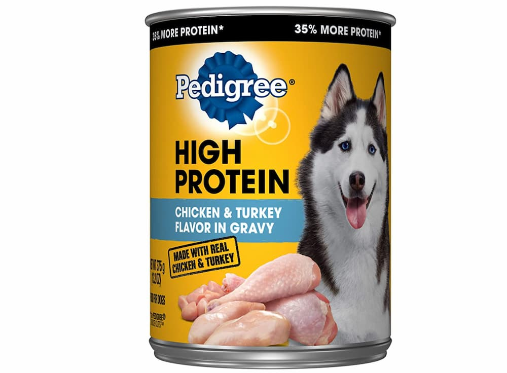 High-protein dog food: can of Pedigree high-protein formula