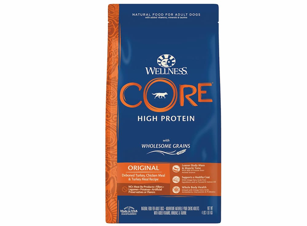 High-protein dog formula: bag of wellness wholesome grain food