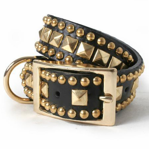 Black and gold studded spiked leather dog collar